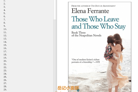 Those Who Leave and Those Who Stay (L'amica geniale #3) by Elena Ferrante