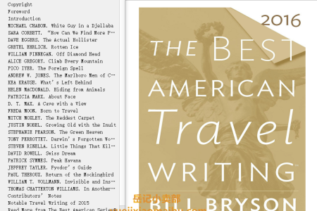 The Best American Travel Writing 2016 (Best American Travel Writing) by Bill Bryson