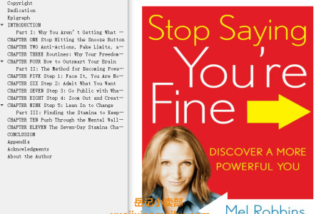 Stop Saying You're Fine: Discover a More Powerful You by Mel Robbins
