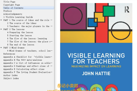 【配音频】Visible Learning for Teachers: Maximizing Impact on Learning by John A.C. Hattie(mobi,epub,pdf)