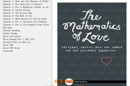 The Mathematics of Love: Patterns, Proofs, and the Search for the Ultimate Equation (TED Books #3) by Hannah Fry