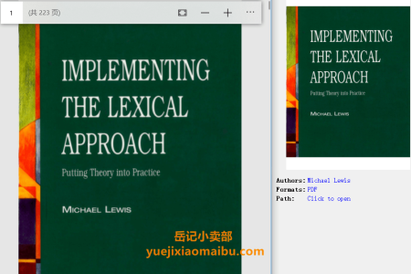 Implementing the Lexical Approach: Putting Theory Into Practice (Language Teaching Publications) by Michael Lewis