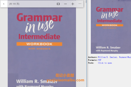 Grammar in Use Workbook with Answers (Grammar in Use) by William R. Smalzer,  Raymond Murphy