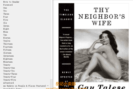 【电子书】Thy Neighbor's Wife by Gay Talese(mobi,epub,pdf)