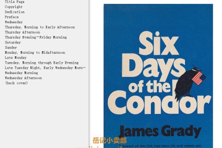 【配音频】Six Days of the Condor (The Condor #1) by James Grady(mobi,epub,pdf)