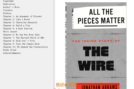 【配音频】All the Pieces Matter: The Inside Story of The Wire by Jonathan Abrams(mobi,epub,pdf)