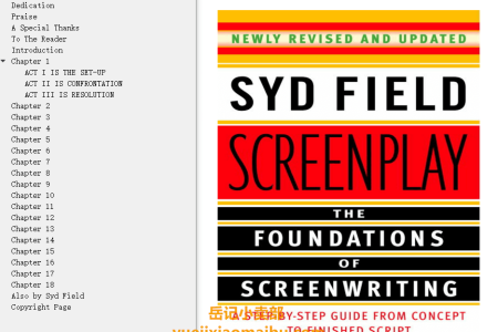 【电子书】Screenplay: The Foundations of Screenwriting by Syd Field(mobi,epub,pdf)