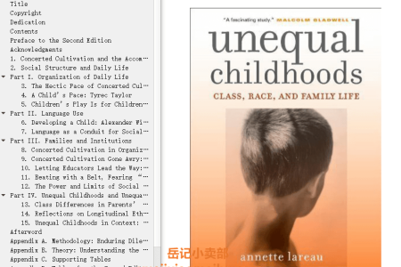 【配音频】Unequal Childhoods: Class, Race, and Family Life by Annette Lareau(mobi,epub,pdf)