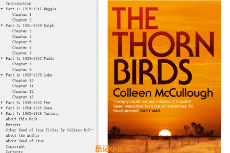 【配音频】The Thorn Birds by Colleen McCullough(mobi,epub,pdf)