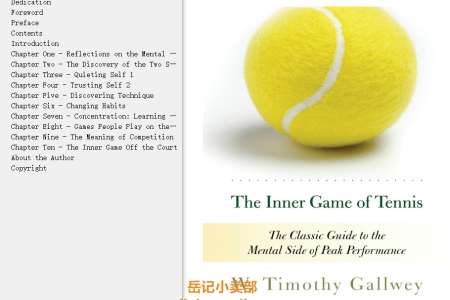 【配音频】The Inner Game of Tennis: The Classic Guide to the Mental Side of Peak Performance (inner Game) by W. Timothy Gallwey(mobi,epub,pdf)