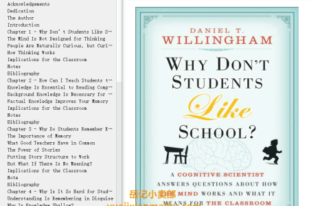 【配音频】Why Don't Students Like School?: A Cognitive Scientist Answers Questions About How the Mind Works and What It Means for the Classroom(mobi,epub,pdf)