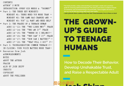 【配音频】The Grown-Up's Guide to Teenage Humans: How to Decode Their Behavior, Develop Unshakable Trust, and Raise a Respectable Adult by Josh Shipp(mobi,epub,pdf)