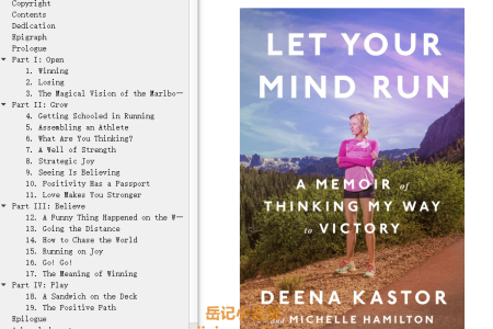 【配音频】Let Your Mind Run: A Memoir of Thinking My Way to Victory by Deena Kastor(mobi,epub,pdf)
