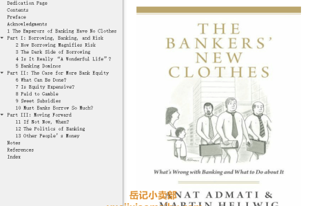 【配音频】The Bankers' New Clothes: Whats Wrong with Banking and What to Do about It by Anat Admati,  Martin Hellwig(mobi,epub,pdf)