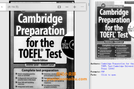 【配音频】Cambridge Preparation for the TOEFL Test 4th Edition (Book & CD-ROM) by Jolene Gear,  Robert Gear(pdf)