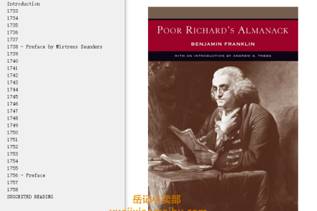 【电子书】Poor Richard's Almanack by Benjamin Franklin(mobi,epub,pdf)