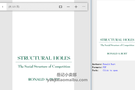 【电子书】Structural Holes: The Social Structure of Competition by Ronald Burt(pdf)