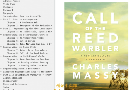 【电子书】Call of the Reed Warbler: A New Agriculture – A New Earth by Charles Massy(mobi,epub,pdf)