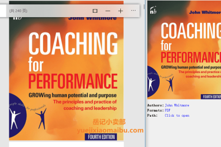 【配音频】Coaching for Performance 4th Edition: GROWing Human Potential and Purpose - The Principles and Practice of Coaching and Leadership,  by John Whitmore(pdf)