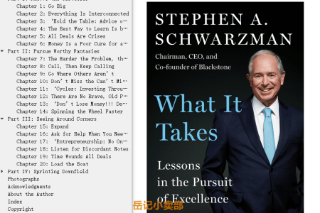 【配音频】What It Takes: Lessons in the Pursuit of Excellence by Stephen A. Schwarzman(mobi,epub,pdf)