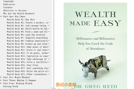 【配音频】Wealth Made Easy: Millionaires and Billionaires Help You Crack the Code to Getting Rich by Greg Reid(mobi,epub,pdf)