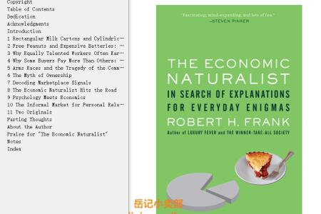 【电子书】The Economic Naturalist: In Search of Explanations for Everyday Enigmas by Robert H. Frank(mobi,epub,pdf)