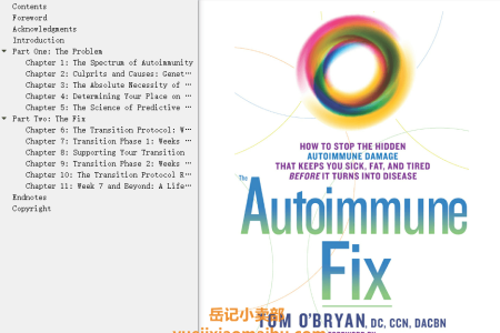【配音频】The Autoimmune Fix: How to Stop the Hidden Autoimmune Damage That Keeps You Sick, Fat, and Tired Before It Turns Into Disease by Tom O'Bryan(mobi,epub,pdf)