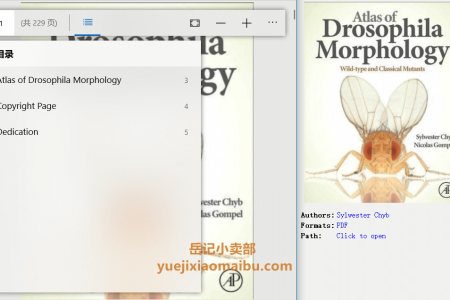 【电子书】Atlas of Drosophila Morphology: Wild-type and Classical Mutants by Sylwester Chyb, Nicolas Gompel(pdf)