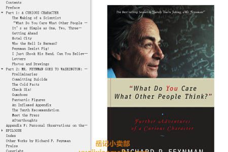 【配音频】What Do You Care What Other People Think?: Further Adventures of a Curious Character by Richard P. Feynman, Ralph Leighton(mobi,epub,pdf)