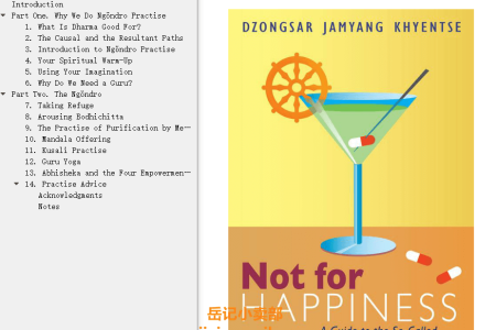 【配音频】Not For Happiness: A Guide to the So-Called Preliminary Practices by Dzongsar Jamyang Khyentse(mobi,epub,pdf)
