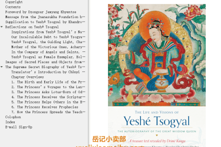【电子书】The Life and Visions of Yeshé Tsogyal: The Autobiography of the Great Wisdom Queen by Drime Kunga(mobi,epub,pdf)