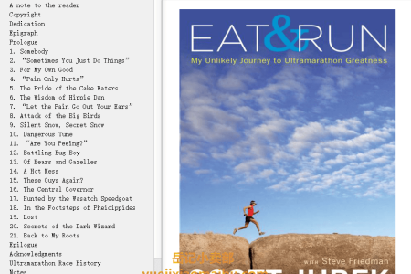 【配音频】Eat and Run: My Unlikely Journey to Ultramarathon Greatness by Scott Jurek,  Steve Friedman(mobi,epub,pdf)