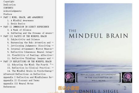 【电子书】The Mindful Brain: Reflection and Attunement in the Cultivation of Well-Being by Daniel J. Siegel(mobi,epub,pdf)