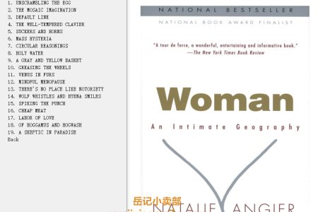 【电子书】Woman: An Intimate Geography by Natalie Angier(mobi,epub,pdf)