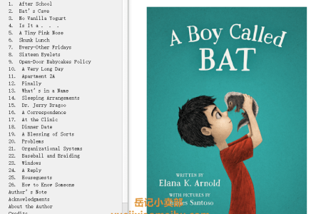 【配音频】A Boy Called Bat (A Boy Called Bat #1) by Elana K. Arnold(mobi,epub,pdf)