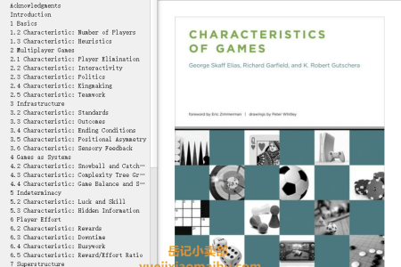 【电子书】Characteristics of Games by George Skaff Elias(mobi,epub,pdf)