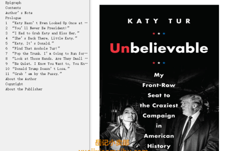 【配音频】Unbelievable: My Front-Row Seat to the Craziest Campaign in American History by Katy Tur(mobi,epub,pdf)