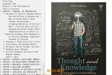 【电子书】Thought and Knowledge 5th Edition: An Introduction to Critical Thinking by Diane F. Halpern(mobi,epub,pdf)