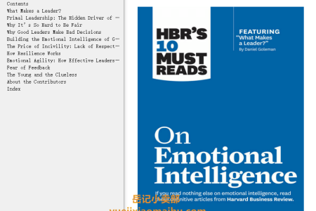 【配音频】On Emotional Intelligence (HBR's 10 Must Reads) by Harvard Business Review(mobi,epub,pdf)