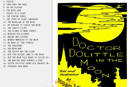 【电子书】Doctor Dolittle in the Moon (Doctor Dolittle #8) by Hugh Lofting(mobi,epub,pdf)