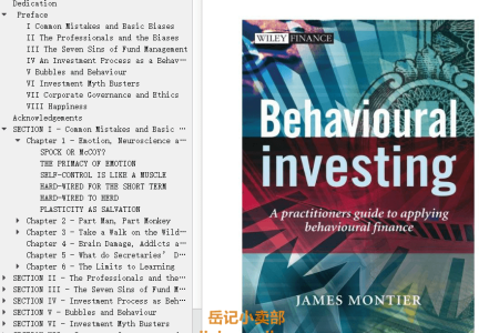 【电子书】Behavioural Investing by James Montier(mobi,epub,pdf)