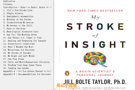 【配音频】My Stroke of Insight: A Brain Scientist's Personal Journey by Jill Bolte Taylor(mobi,epub,pdf)