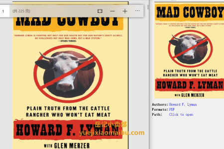 【配音频】Mad Cowboy: Plain Truth from the Cattle Rancher Who Won't Eat Meat by Howard F. Lyman,  Glen Merzer(pdf)