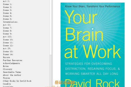 【配音频】Your Brain at Work: Strategies for Overcoming Distraction, Regaining Focus, and Working Smarter All Day Long by David Rock(mobi,epub,pdf)