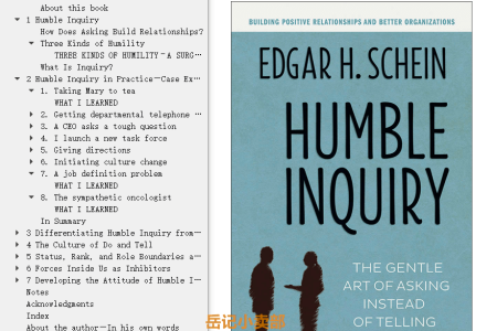 【配音频】Humble Inquiry: The Gentle Art of Asking Instead of Telling by Edgar H. Schein(mobi,epub,pdf)