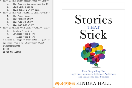 【配音频】Stories That Stick: How Storytelling Can Captivate Customers, Influence Audiences, and Transform Your Business by Kindra Hall(mobi,epub,pdf)