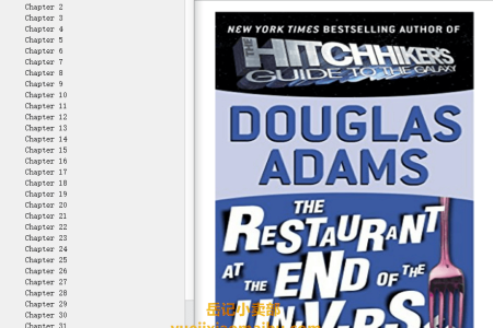 【配音频】The Restaurant at the End of the Universe (Hitchhiker's Guide to the Galaxy #2) by Douglas Adams(mobi,epub,pdf)