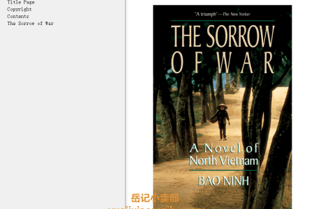 【配音频】The Sorrow Of War: A Novel of North Vietnam by Bảo Ninh(mobi,epub,pdf)