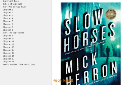 【配音频】Slow Horses (Slough House #1) by Mick Herron(mobi,epub,pdf)