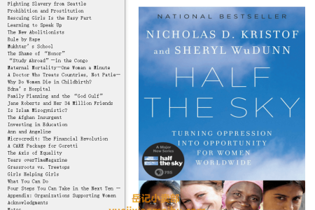 【配音频】Half the Sky: Turning Oppression Into Opportunity for Women Worldwide by Nicholas D. Kristof ,  Sheryl WuDunn(mobi,epub,pdf)